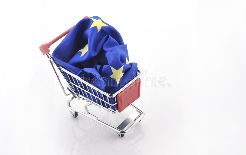 European Union trade market surplus deficit shopping cart isolated september 18, 2016. European Union trade market surplus deficit shopping cart isolated stock images