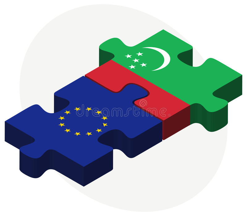 European Union and Turkmenistan Flags in puzzle isolated on white background. Illustration of European Union and Turkmenistan Flags in puzzle isolated on white royalty free illustration