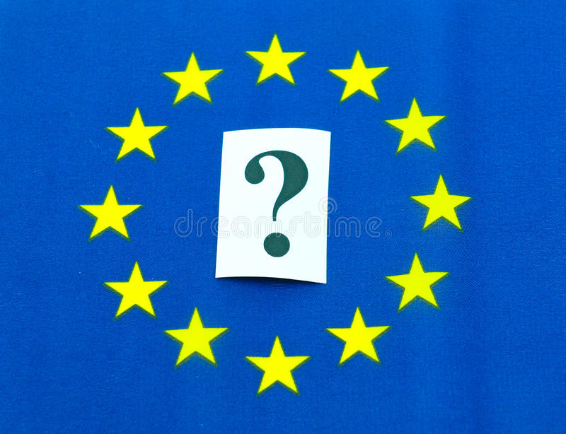 European Union. Uncertainty concept with flag and question mark stock photography