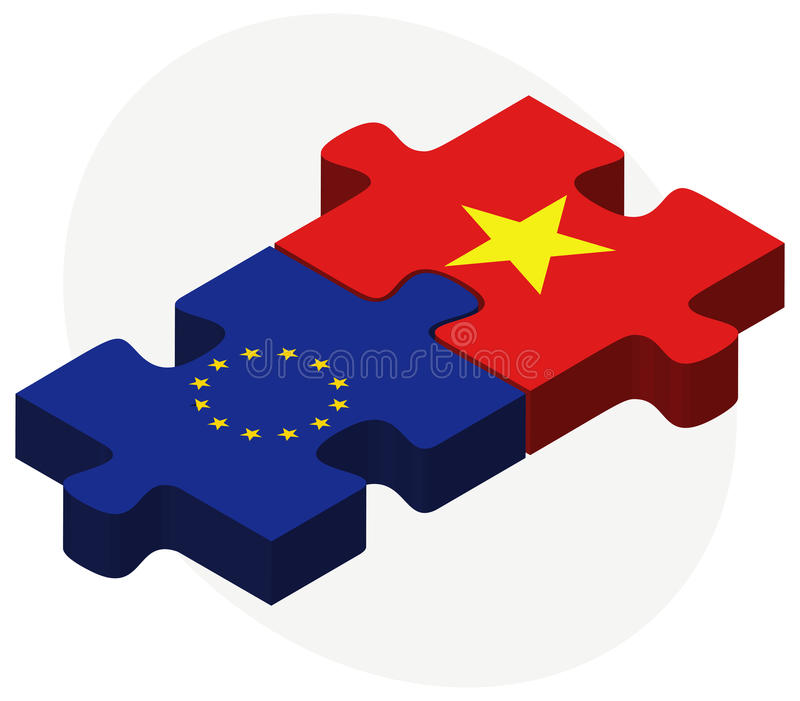 European Union and Vietnam Flags in puzzle isolated on white background. Illustration of European Union and Vietnam Flags in puzzle isolated on white background vector illustration