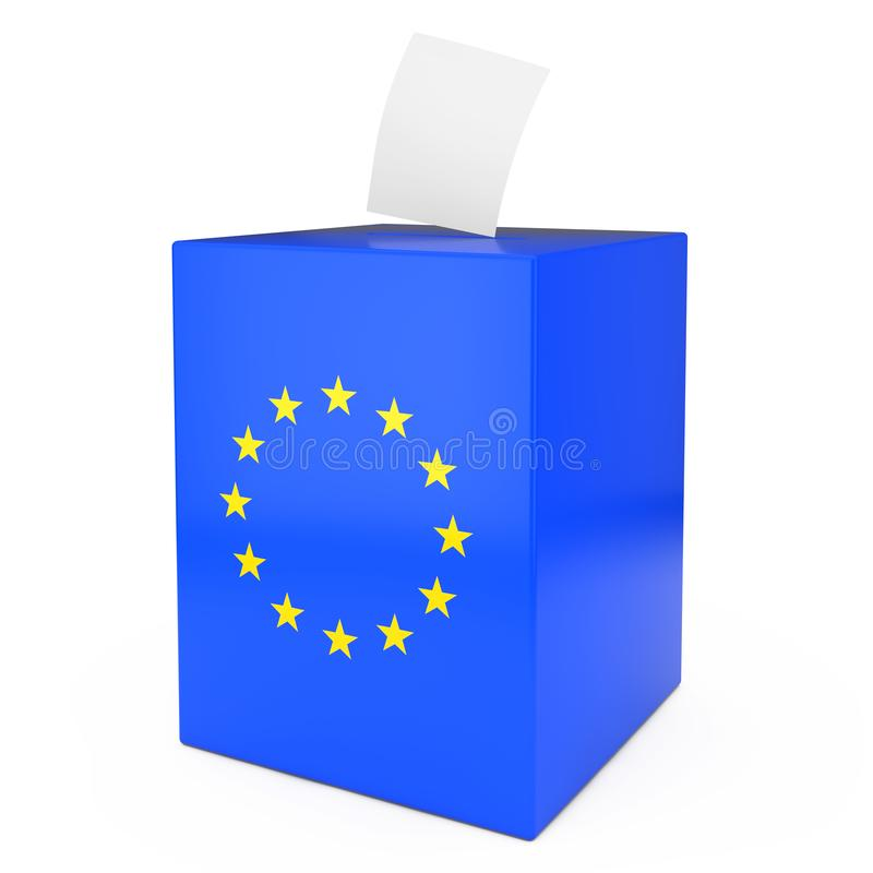 European Union Vote Concept. Vote Paper falls in to Vote Box with European Union Flag. 3d Rendering vector illustration