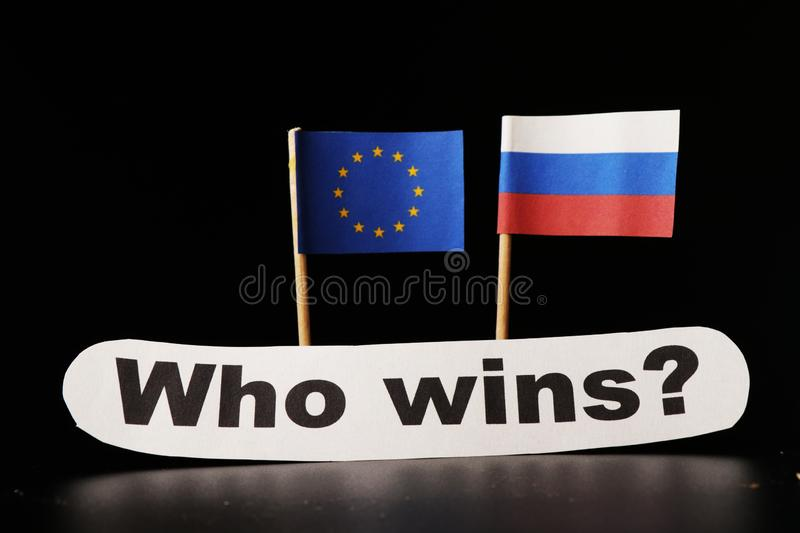A european union vs Russia is on day list. European union trying enforce contingents against Russia. So who wins in the end royalty free stock image