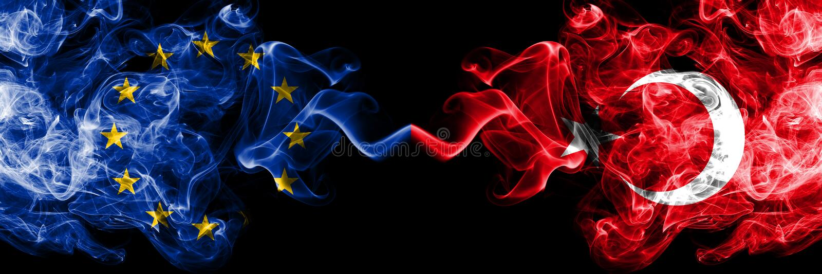European Union vs Turkey, Turkish smoke flags placed side by side. Thick colored silky smoke flags of EU and Turkey, Turkish.  royalty free stock photos