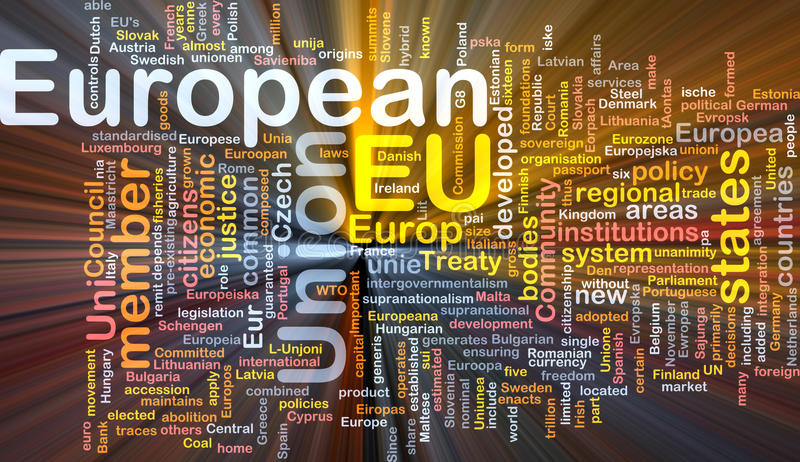 European Union word cloud box package. Software package box Word cloud concept illustration of EU European Union stock illustration