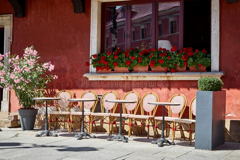 European vintage summer cafe without people royalty free stock photography