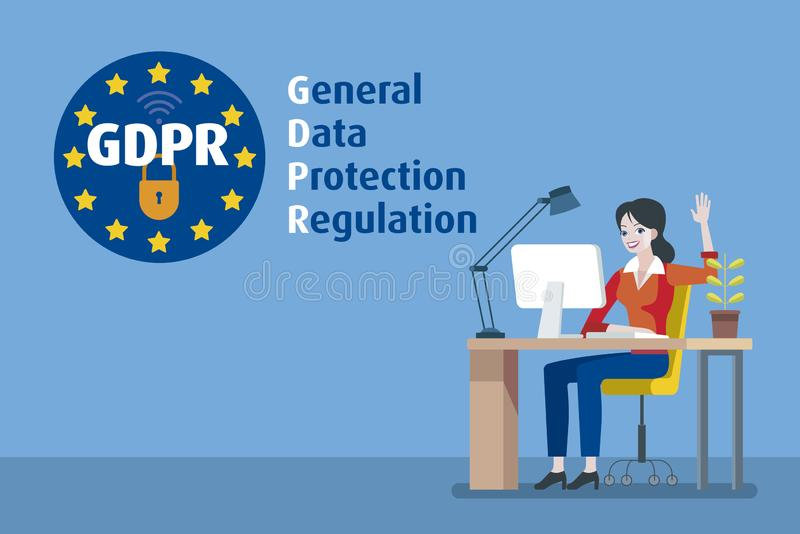 European Woman and GDPR stock illustration