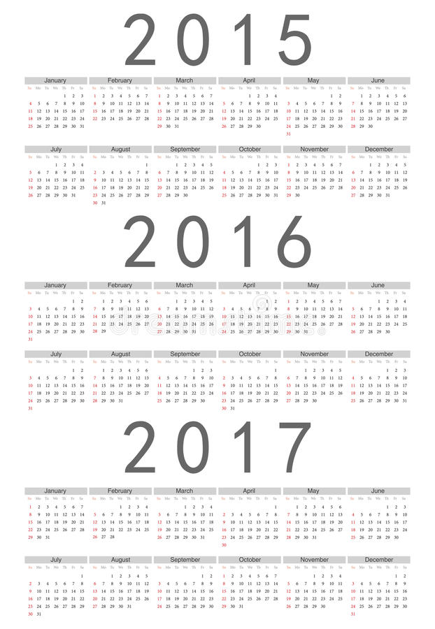 European 2015, 2016, 2017 year vector calendar. Simple european 2015, 2016, 2017 year vector calendar
