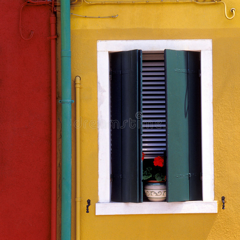 European yellow and red wall stock images