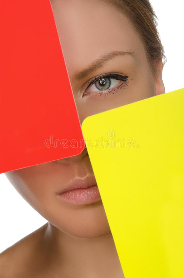 European young woman with red and yellow card stock photos