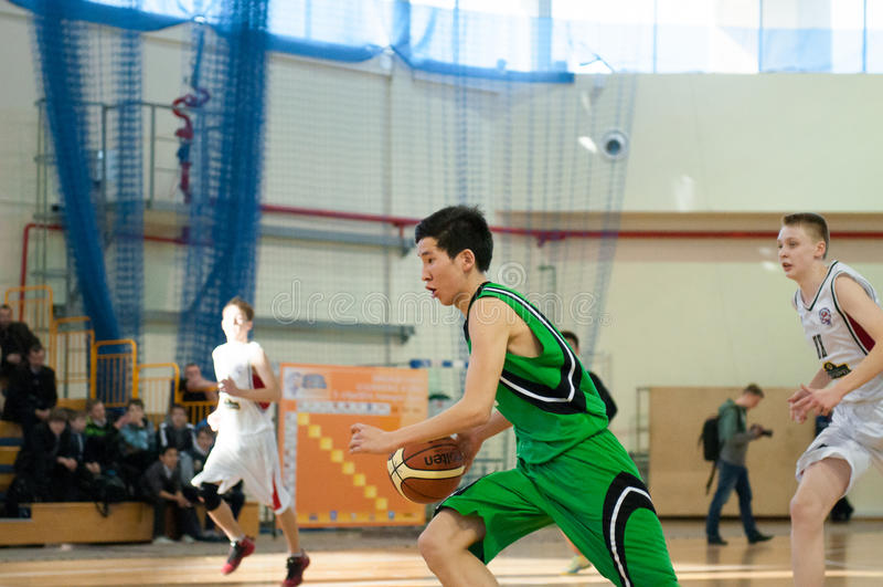 European youth basketball league. KALININGRAD - APRIL 4: Basketball competitions european youth basketball league (EYBL), 4 April, 2014 in Kaliningrad Russia stock image