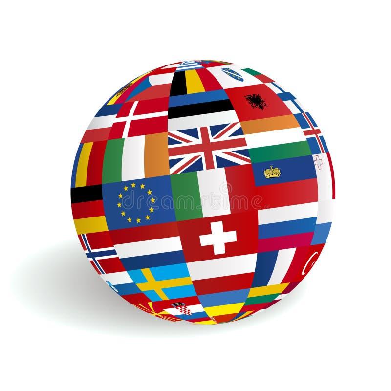 europeanen 3d flags jordklotet stock illustrationer