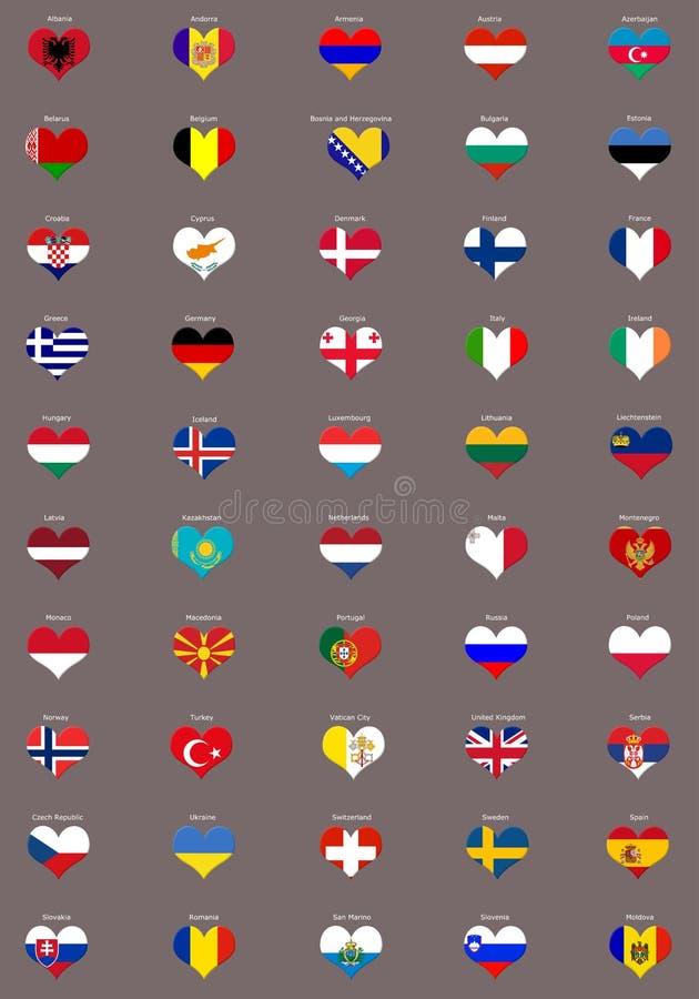 europeanen flags hjärtaformer vektor illustrationer