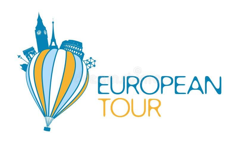 Europeanen turnerar symbol. stock illustrationer