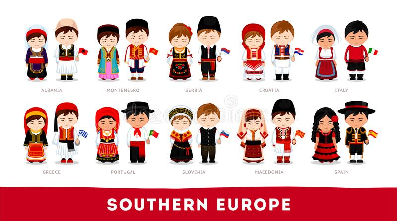 Europeans in national clothes. Southern Europe. royalty free stock image