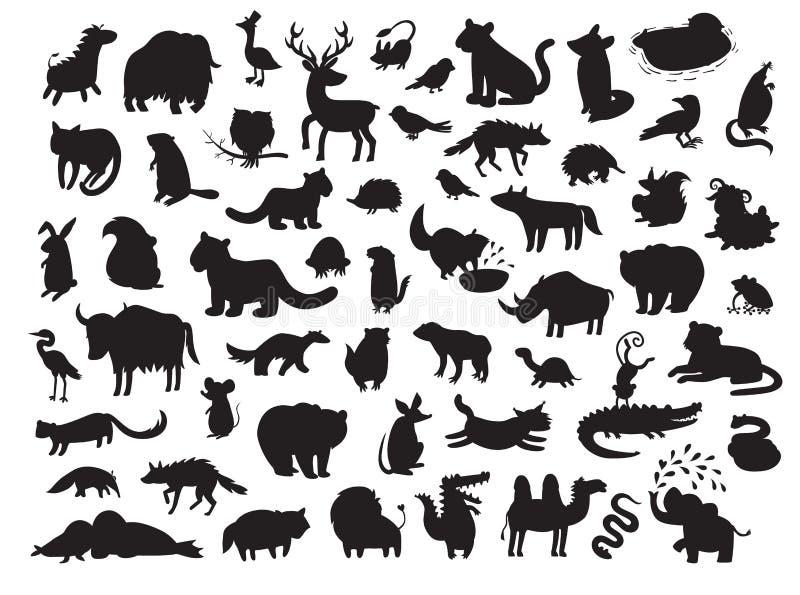 Europees-Aziatische die dierensilhouetten, op witte vectorillustratie worden geïsoleerd als achtergrond royalty-vrije illustratie