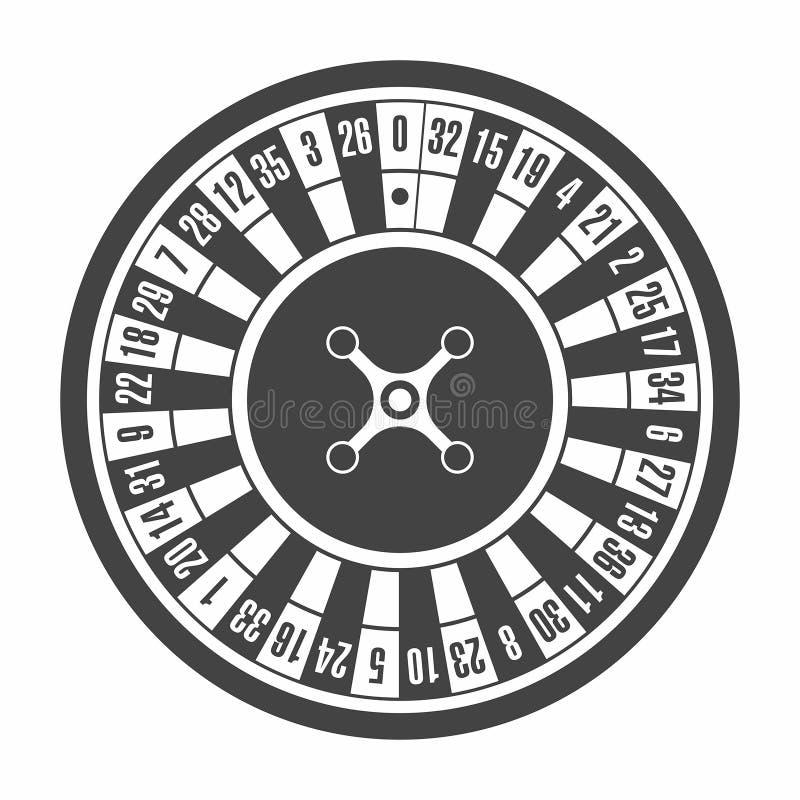 Europees roulettewiel in zwart-wit, zwart Hoogste mening vector illustratie