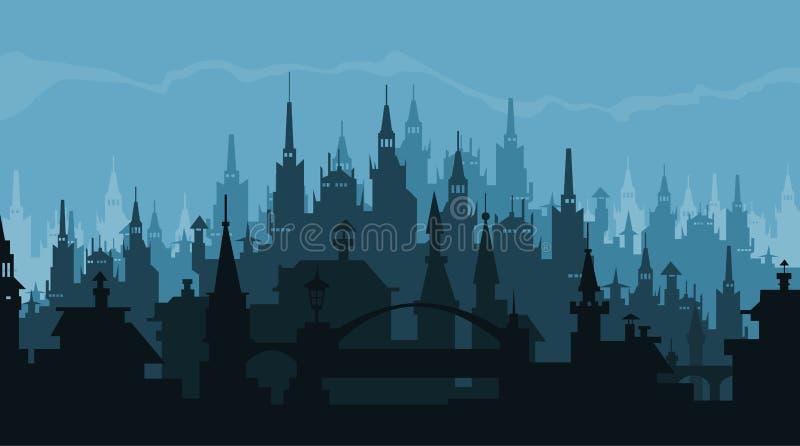 Europees stadssilhouet van gebouwen in gotische stijl vector illustratie