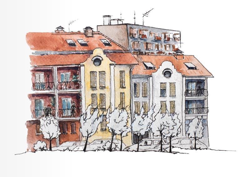 Europees stedelijk landschap Europese stad met oude en moderne huizen Stedelijke Mening De illustratie van de waterverf schets royalty-vrije illustratie