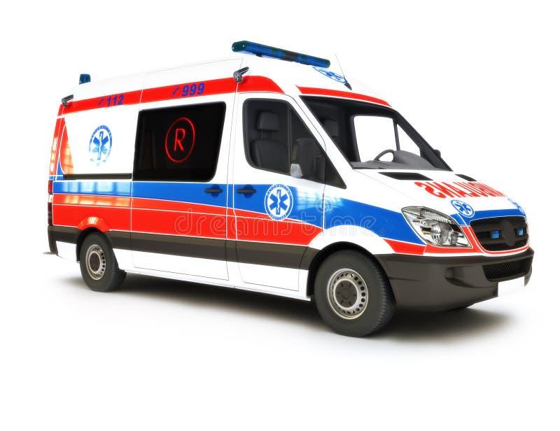 Europeisk ambulans på en vit bakgrund royaltyfri illustrationer