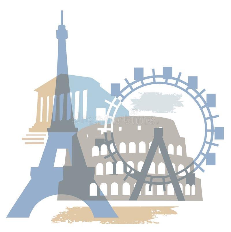 europeisk berömd grunge för byggnader stock illustrationer