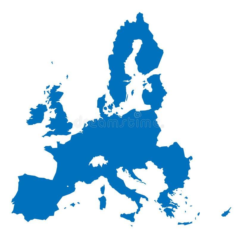 Europeisk blåttkontur för fackligt territorium som isoleras på vit bakgrund vektor illustrationer