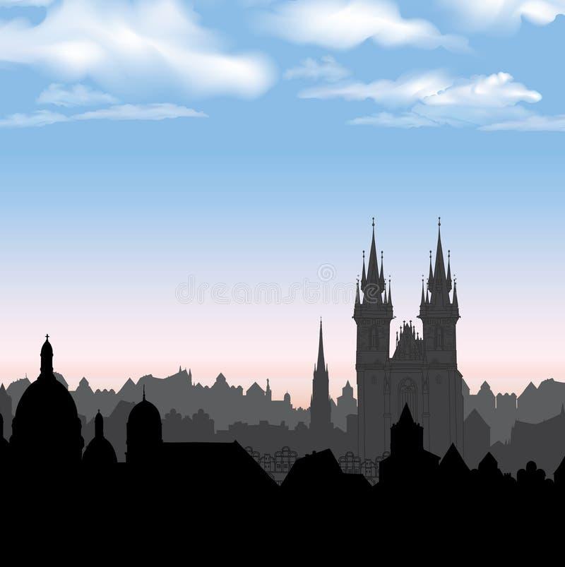 Europeisk cityscape Gammal stadsmorgonhorisont stock illustrationer
