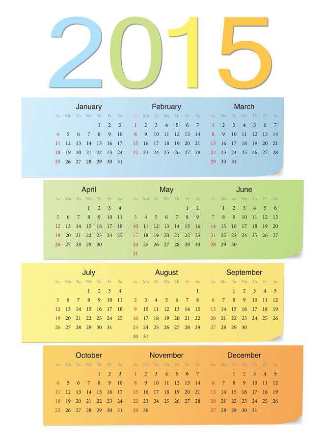 Europeisk färgvektorkalender 2015 stock illustrationer
