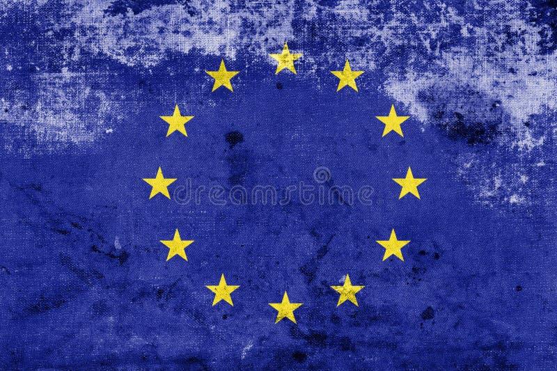 Europeisk Facklig Flagga För Grunge Royaltyfri Bild