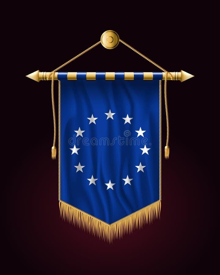 Europeisk facklig flagga för monokrom version Festligt vertikalt baner stock illustrationer