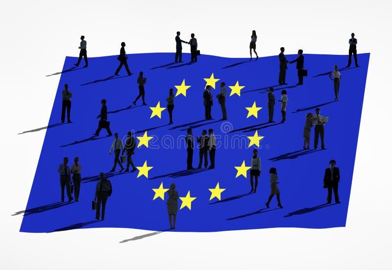 Europeisk facklig flagga och grupp människor royaltyfri illustrationer