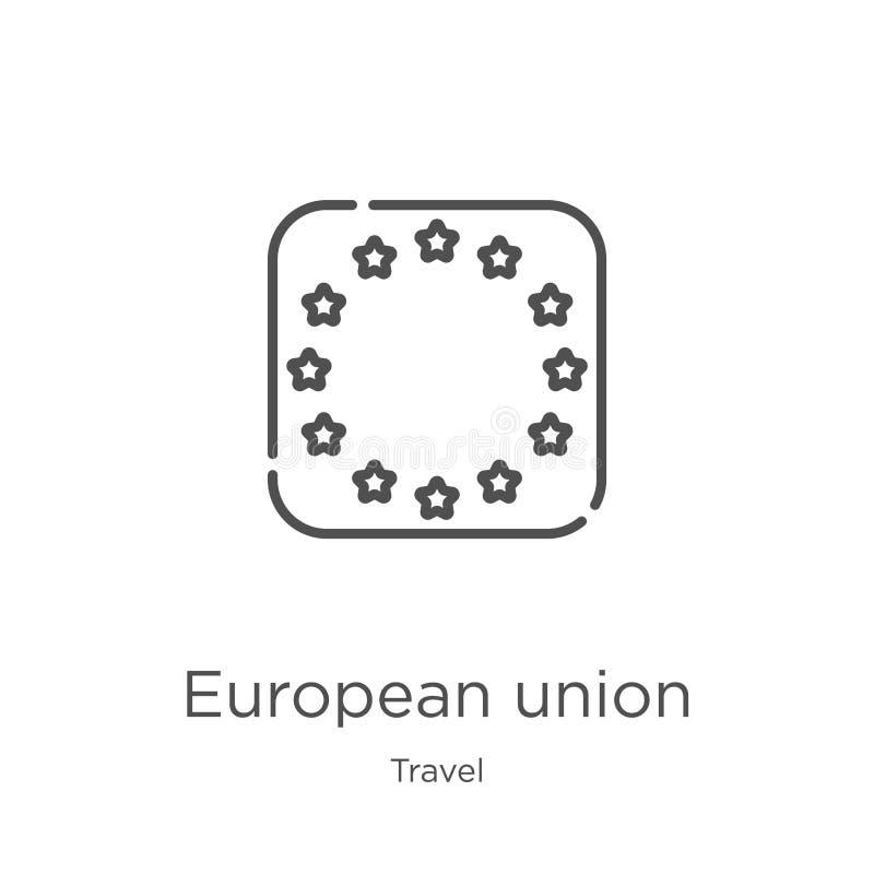 europeisk facklig symbolsvektor från loppsamling Tunn linje europeisk facklig illustration för översiktssymbolsvektor ?versikt tu royaltyfri illustrationer