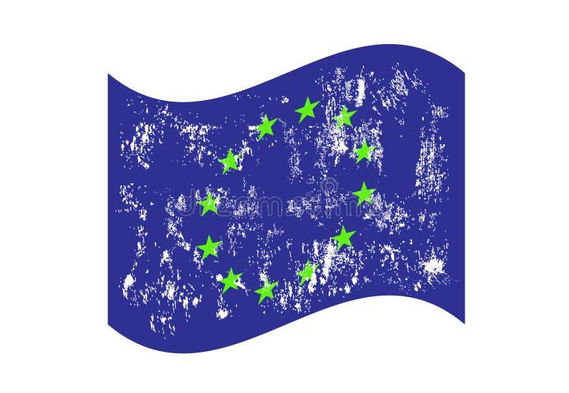Europeisk facklig vinkande illustration eps10 för grungeflaggavektor royaltyfri illustrationer