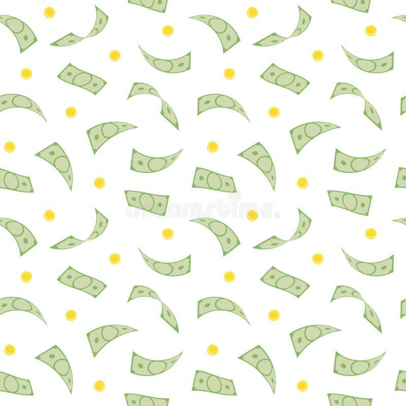 europeisk fallande pengarregnsky Sömlös modell med fallande dollar och mynt royaltyfri illustrationer