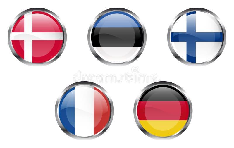 europeisk flaggadel för 2 knappar stock illustrationer