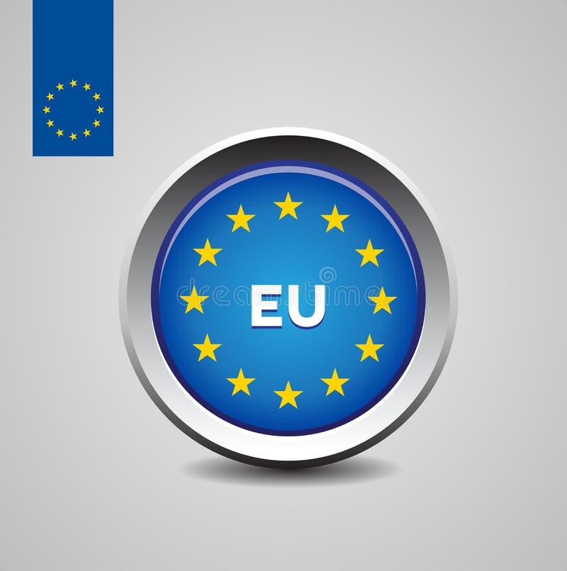 europeisk flaggaunion för knapp e. - royaltyfri illustrationer