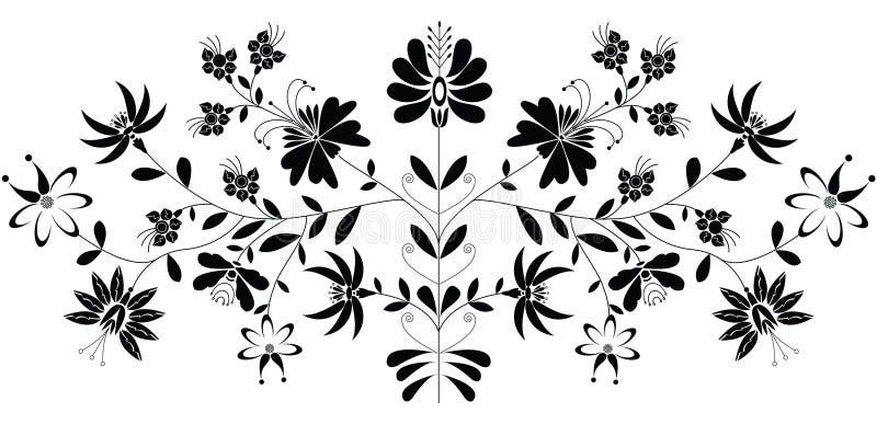Europeisk folk blom- modell i svart på vit bakgrund stock illustrationer