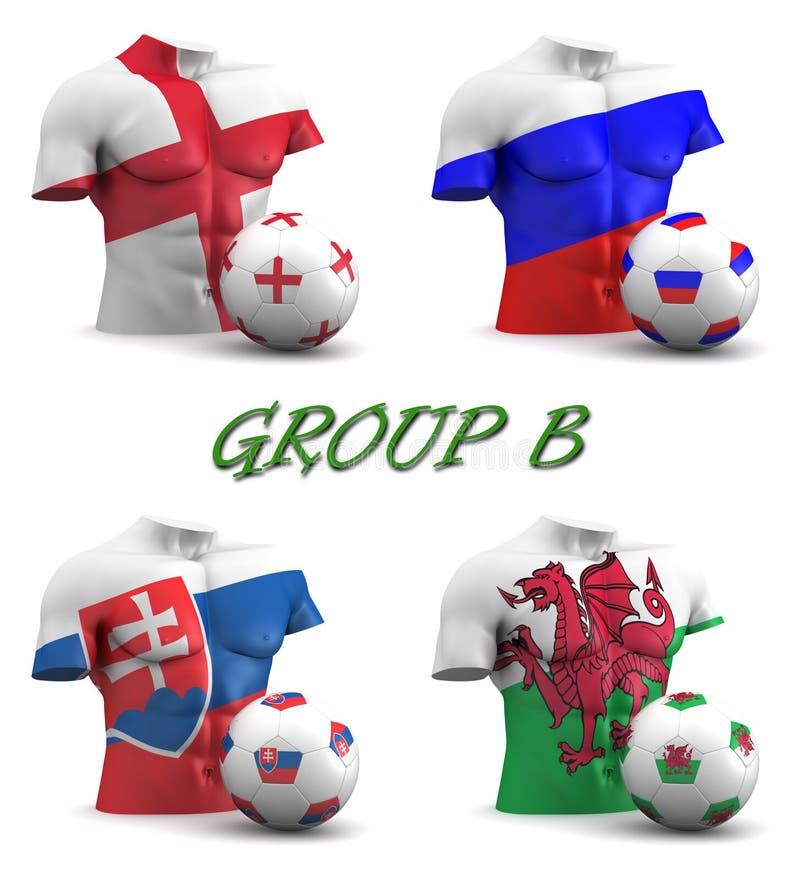 Europeisk fotboll 2016 för grupp B royaltyfri illustrationer
