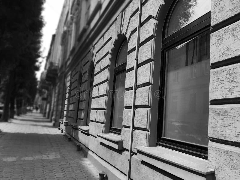 europeisk gata Den gamla byggnadsarkitekturen 1990 byggde den lviv operatheatren ukraine royaltyfria foton