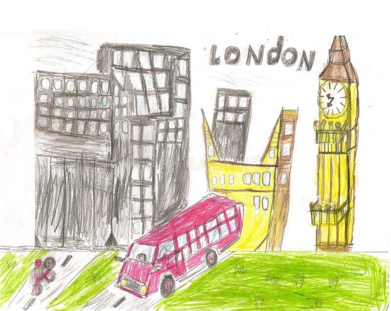 Europeisk huvudstad, skissar, London, modernistisk stil, bakgrund, c vektor illustrationer