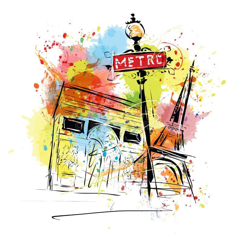 Europeisk huvudstad, skissar, Paris, modernistisk stil royaltyfri illustrationer