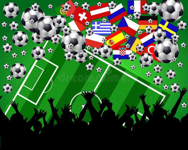 europeisk illustrationfotboll för mästerskap stock illustrationer