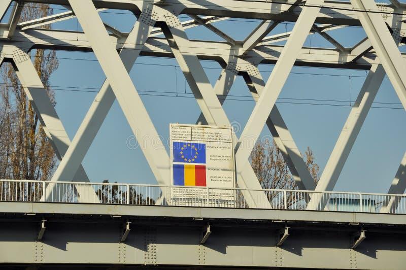 Europeisk informationsvägg om fond för den Bucharest Constanta railwen arkivfoton