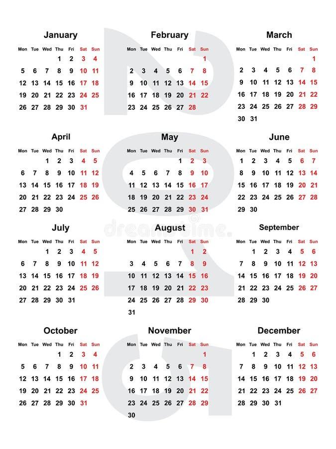 Europeisk kalender 2015 vektor illustrationer