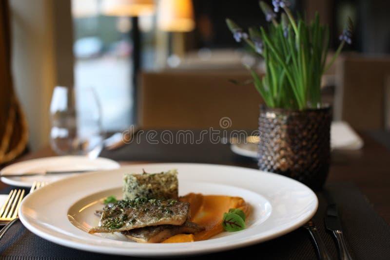 Europeisk kokkonst för restaurang, forellfilet arkivfoton