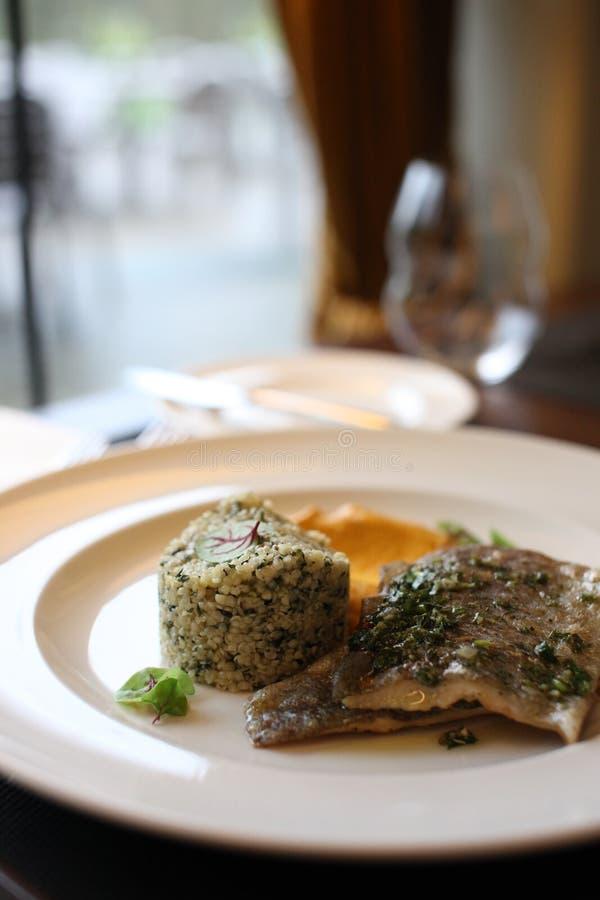 Europeisk kokkonst för restaurang, forellfilet royaltyfria foton