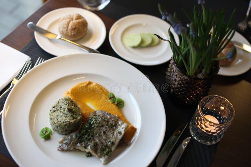 Europeisk kokkonst för restaurang, forellfilet arkivfoto