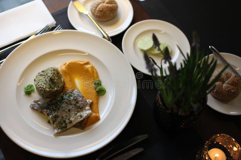 Europeisk kokkonst för restaurang, forellfilet fotografering för bildbyråer
