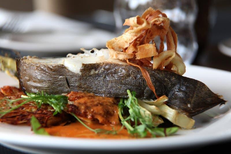 Europeisk kokkonst för restaurang, piggvarbiff royaltyfria foton