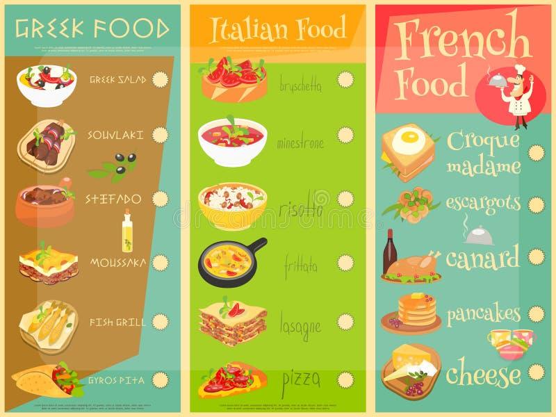 Europeisk kokkonstmeny vektor illustrationer