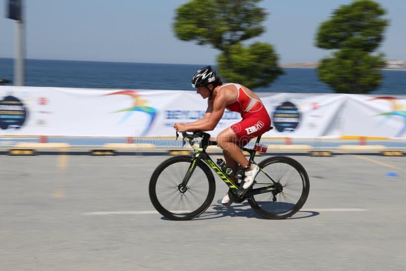 Europeisk kopp 2017 för Istanbul Beylikduzu ETU Triathlon royaltyfria bilder